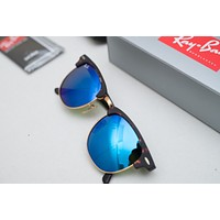 rayban sunglasses clubmaster RB3016 Tortoise Frame Blue Flash Lenses 51mm