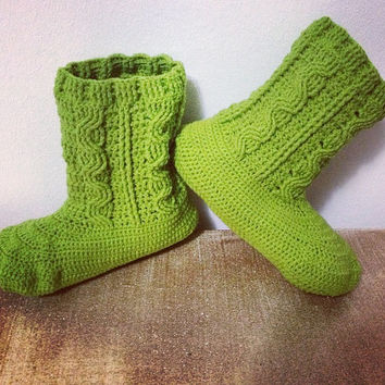 CUSTOM Hand Crochet Women's Lime Green Cabled Ankle Bootie Slippers - Women's House Slippers