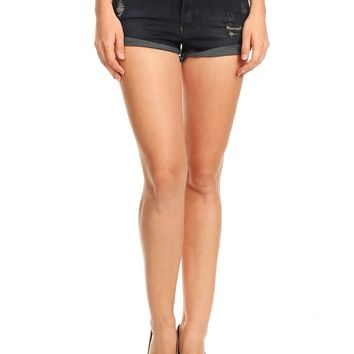 LE3NO Womens High Waisted Ripped Denim Shorts with Pockets