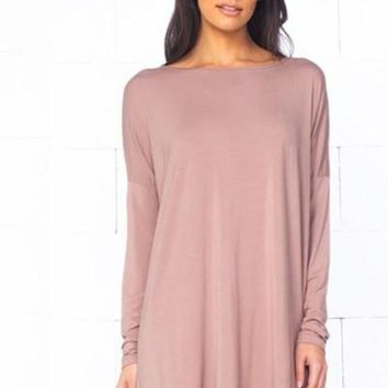 Girl Boss Swing Dress - Taupe