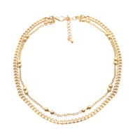 Double Line Bead and Cuban Chain Choker Necklace