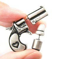 Fake Gauge Earrings: Gun Pistol and Bullet Shaped Faux Plug Stud Earrings in Silver