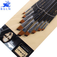 9pcs set Nylon Acrylic Oil Paint Brush Oblique Painting Brush For Oil Acrylic Brush Pen pincel para pintura Art Supplies 802