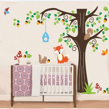 Wall Decals Nursery Tree with Forest Friend - Kids Wall Decals Nursery