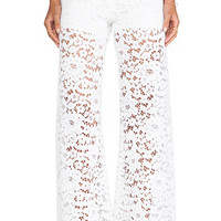 Alexis Madrid Wide Leg Lace Pants in White