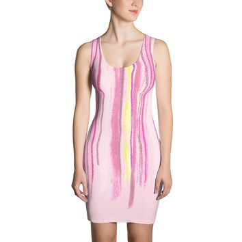Paris METRO Couture: Draw A Line on White Dress in Pink