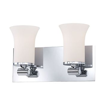 Flare 2-Light Vanity Lamp in Chrome with White Opal Glass