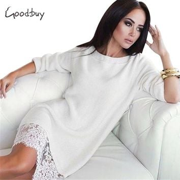 Goodbuy 2017 New Spring Women Patchwork Dress Sexy Lace Office Dress Bodycon Dresses Cotton Midi Slim Long Sleeve Vestidos Robe