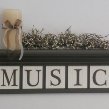 "Personalized Family Names and Signs 30"" Shelf with 7 Wooden Letter Tiles Painted Chocolate Brown and White MUSIC and Musical Notes"