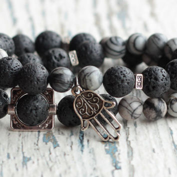 Black men's double bracelet Hamsa hand meditation yoga energy tibetan gemstone lava and jasper jewelry Unisex dark gift for his her girl boy
