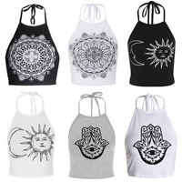 2016 New Ladies Sexy Eye In The Hand/Floral/Sun Moon Print Halter Crop Top Neck Summer Womens Bralet Cami Tank