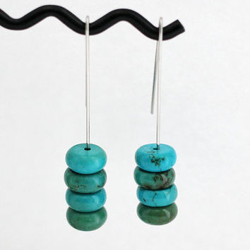 Turquoise Stone Earrings, Minimalist Style, Arizona Turquoise Beads, Stainless Steel Ear Wires, Dangle Earrings Handmade by Hendywood