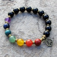 Chakra, Multitone Gemstone Mala Bracelet with Onyx Gemstones