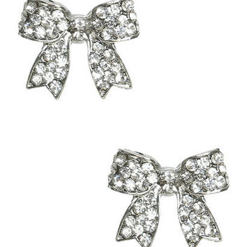 Bow Rhinestone Button Earring | Shop Accessories at Wet Seal