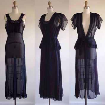 Black gown- Black lingere- Evening gown- 1940s dress- Hollywood glamour- Nightgown and robe- Sheer gown- Long black dress- Plunging neckline