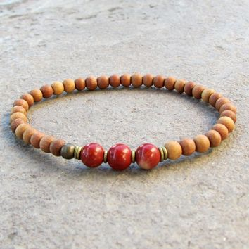 Grounding, First Chakra, Sandalwood and Genuine Red Jasper Gemstone Mala Bracelet