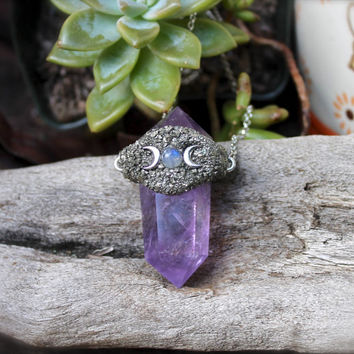 Amethyst Necklace - Moonstone Jewelry - 'Triple Goddess' Crystal Jewelry - Wiccan Jewelry - Bohemian Necklace - Moon & Crystal Necklace