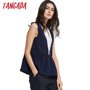 Tangada Fashion Women Shirts Sleeveless V Neck Ruffle Blouse Sexy Tops Women Office Basic Blusas Summer Female Ladies Top SY1