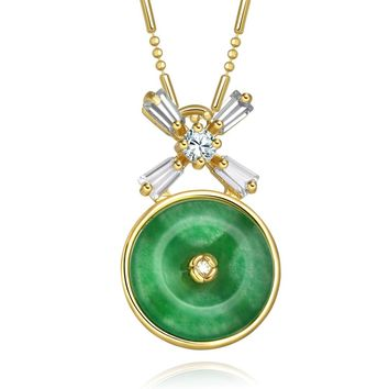Small Cute Lucky Donut Charm Gold-Tone Baguette Fancy Crystals Green Simulated Jade Necklace