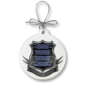 Christmas Ornaments – Police Gifts for Men or Women – Law Enforcement Ornaments with a Silver Ribbon – Policeman's Prayer Xmas Ornaments (1 Piece)