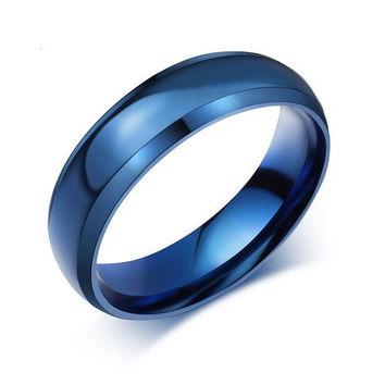 blue titanium ring for men-FREE engraving service