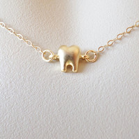 Gold Tooth Necklace - Tiny Gold Tooth Necklace - Dentist Necklace - Gold Necklace - Mothers Day Gift
