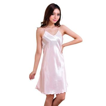 DCCKL3Z New Arrival Sexy Lingerie Women Girl Silk Robe Dress Babydoll Nightdress Nightgown Sleepwear