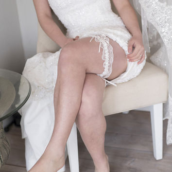 OUREA - ivory satin ruffle, thin satin bow, delicate French lace and rhinestone detailing garter