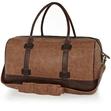 Two-Tone Brown Polyurethane Circle Duffle Bag