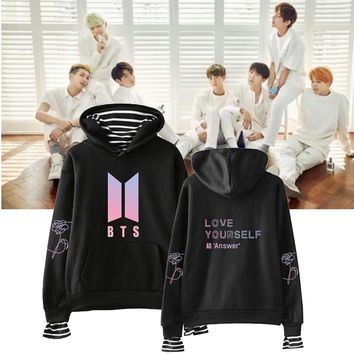 BTS Fake Two Pieces Hoodies Kpop Clothes BTS Sweatshirts bts Men's Sweatshirt Striped Pullovers Women Love Yourself Streetwear