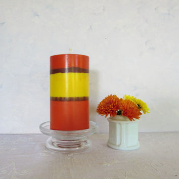 Rustic orange yellow and brown soy pillar candle, multiple fall colors soy scented candle, big and beautiful soy pillar candle