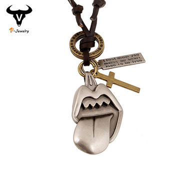 Super Cool Sexy Metal Clip Pendant Male Necklace Long Genuine Leather Cord Men Necklace Adjustable Casual Cross Necklace Jewelry