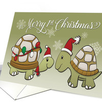 Two Turtles with Santa Hat for Merry 1st Christmas card