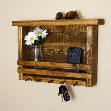 Rustic Key Holder, Bathroom or Kitchen Organizer