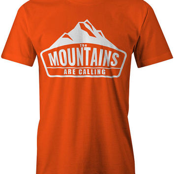 The Mountains Are Calling T-Shirt - Unisex Tshirt - Outdoors - Hiking Hiker - Snowboarding Snowboard - Skiing Ski - Camping