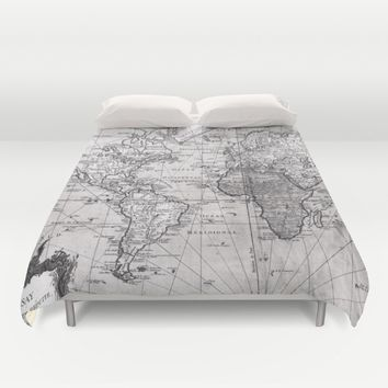 World Map (1778) White & Black Duvet Cover by BravuraMedia