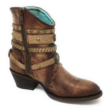 LMFYW3 Corral Tobacco & Studded Zipper Ankle Boots