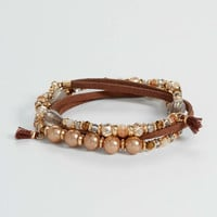 bead and faux suede stretch wrap bracelet | maurices