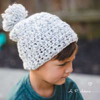 Thick Slouch Hat, Warm Slouchy Hat, Pom Pom Hat, Winter Slouch Hat