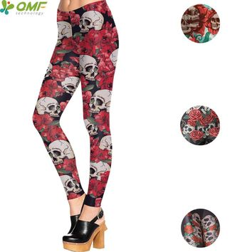 Rose Sugar Skull Print Sports Yoga Leggings Skinny Workout Harajuku Pencil Cosplay Punk