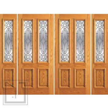Prehung Mahogany Twin Lite Entry Double Glass Door, Two Sidelights