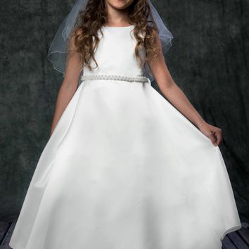 Girls Ivory Satin Full A-Line Communion Dress w. Pearl Trim 4-16