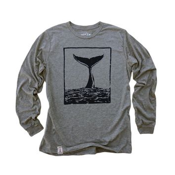 The Tale of the Whale: Fine Jersey Long Sleeve T-Shirt in Tri-Heather Grey