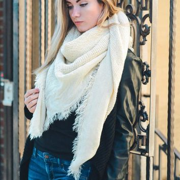 Open Weave Premium Square Knit Scarf