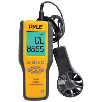 Pyle anemometer and thermometer for air velocity air flow temperature