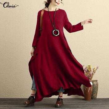 Plus Size Celmia Vintage Long Maxi Dress Women Casual Baggy Long Sleeve Linen Dresses Split Shirt Vestidos Kaftan