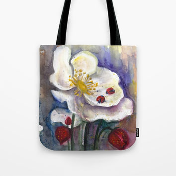 Lady Birds, Strawberry Flowers Tote Bag by MIKART