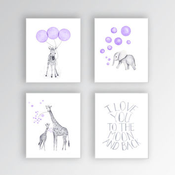 Canvas Art Kids, Baby Girl Art Prints, Animal Nursery Art, Canvas Prints, Watercolor Art for Kids, Lavender and Gray - S414