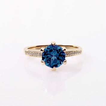 1.50ct London Blue topaz ring, Diamond, Yellow gold, engagement ring, solitaire, Topaz engagement, London blue, teal engagement, wedding
