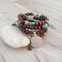 Wide Gypsy Bracelet, Wood and Tribal Metalwork, Coil Bracelet, Turquoise and Light Green Accents